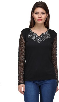 FW Collection Party Full Sleeve Embellished Women's Black Top