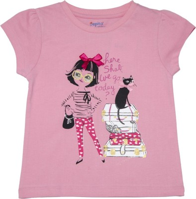 Pepito Party Short Sleeve Printed Girl's Pink Top