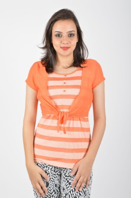 Merch21 Casual Short Sleeve Printed Women's Orange Top