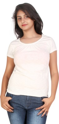 Canoe Casual, Formal Short Sleeve Solid Women's White Top