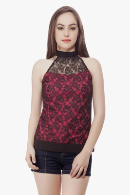 Miss Queen Casual Sleeveless Solid Women's Black, Pink Top