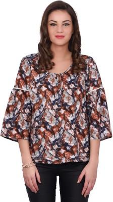 Orange Plum Casual Bell Sleeve Printed Women's Multicolor Top