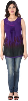 Dovekie Casual Sleeveless Self Design Women's Purple Top