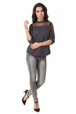 Modattire Casual 3/4 Sleeve Polka Print Women,s Black, White Top