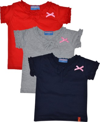 Clever Casual Short Sleeve Solid Girl's Grey, Dark Blue, Red Top