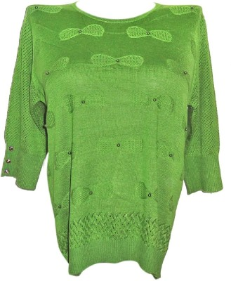 Forever 18 Casual 3/4 Sleeve Embroidered Women's Green Top