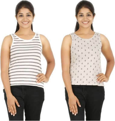HALF INCH Casual Sleeveless Striped, Printed Women's White, Brown Top