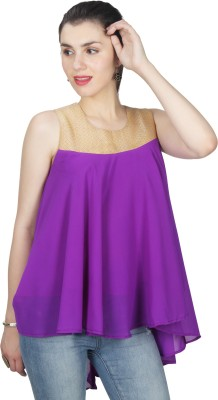 UVR Casual Sleeveless Solid Women's Purple Top