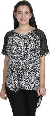 Meiro Casual Short Sleeve Printed Women's Black Top at flipkart