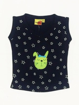 Tomato Casual Sleeveless Printed Girl's Dark Blue Top