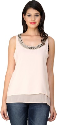 Fashley London Party Sleeveless Solid Women,s Pink Top