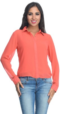 Rare Party Full Sleeve Solid Women's Orange Top