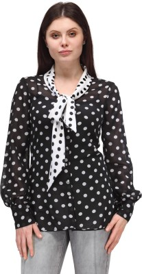Something Different Casual Full Sleeve Polka Print Women's Black, White Top
