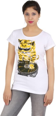 PEP18 Casual Short Sleeve Graphic Print Women's White, Grey Top