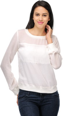 ColorsCo Casual Full Sleeve Solid Women's White Top