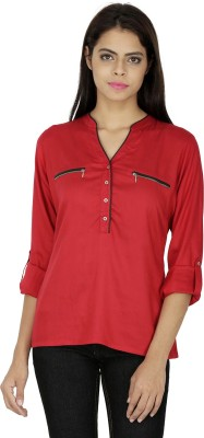 French Creations Casual Roll-up Sleeve Solid Women's Red Top
