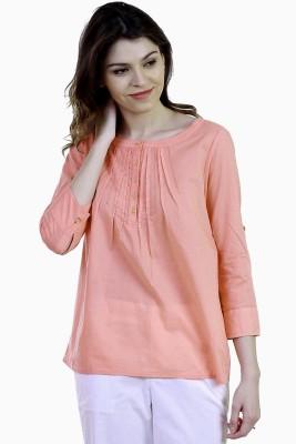 Caribbean Joe Beach Wear 3/4 Sleeve Solid Women's Pink Top