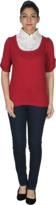 Dope Casual Roll-up Sleeve Self Design Women's Red Top
