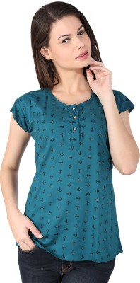 pinklady Casual Short Sleeve Printed Women's Dark Green Top
