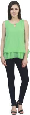 kellan Casual Sleeveless Solid Women's Green Top