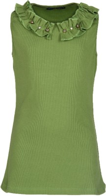 Cool Quotient Casual Sleeveless Self Design Girl's Green Top