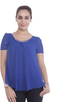 Revoure Formal Short Sleeve Solid Women's Blue Top