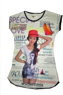 Gungun Fashion Casual Cap sleeve Printed Women's White Top