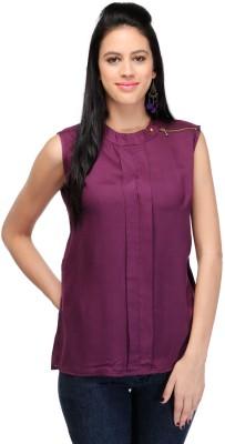 Dolla Casual, Festive, Formal, Lounge Wear, Party, Sports, Wedding Sleeveless Solid Women's Purple Top