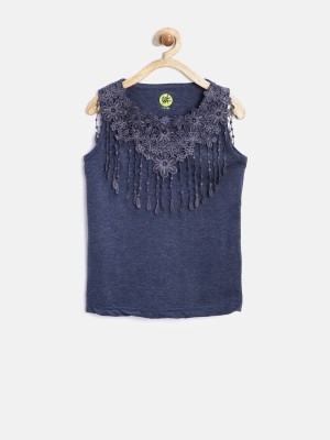 Yk Party Sleeveless Solid Girl's Blue Top