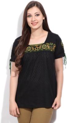 Imara Casual Short Sleeve Self Design Women's Black Top