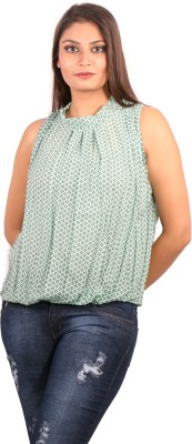 Showoff Casual Sleeveless Printed Women's Green Top