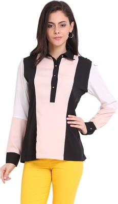 Ridress Casual Full Sleeve Striped Women's Pink, Black, White Top