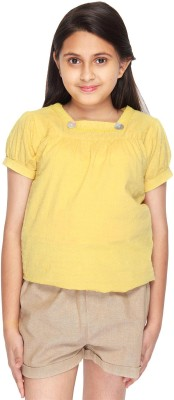Citypret Casual Short Sleeve Solid Girl's Yellow Top