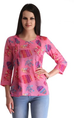 ZAIRE Casual 3/4 Sleeve Printed Women's Pink Top