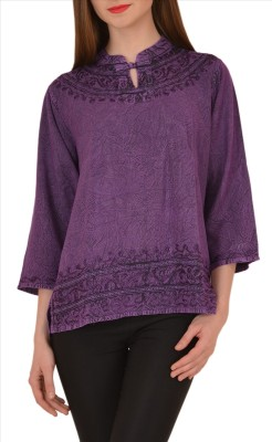 Skirts & Scarves Casual 3/4 Sleeve Embroidered Women's Purple Top