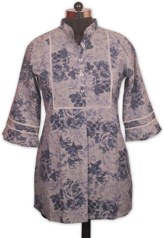 Indian Rain Casual 3/4th Sleeve Floral Print Women's Blue Top