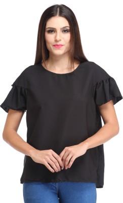 Amirich Casual Short Sleeve Solid Women's Black Top