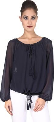 Nordic Bazaar Casual Full Sleeve Solid Women's Dark Blue Top