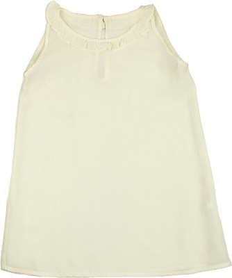 KARYN Casual Sleeveless Solid Girl's Yellow Top