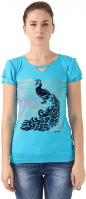 Monte Carlo Casual Short Sleeve Printed Women's Blue Top