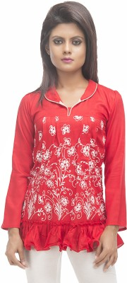 Retaaz Casual, Party, Festive 3/4 Sleeve Graphic Print Girl's Red Top