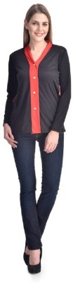 PINK SISLY Casual Full Sleeve Solid Women's Red, Black Top