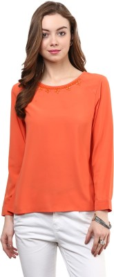 Rare Casual Full Sleeve Solid Women's Orange Top