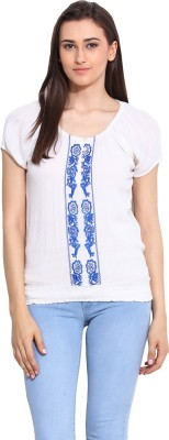 Mystree Casual Short Sleeve Solid Women's White Top