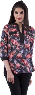 Aarr Casual 3/4 Sleeve Floral Print Women's Black Top