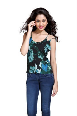 Eighteen4ever Casual Sleeveless Printed Women's Green Top