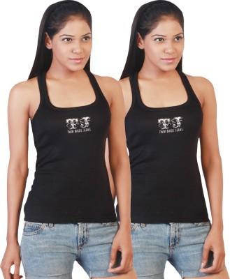 Twin Birds Casual Sleeveless Solid Women's Black Top