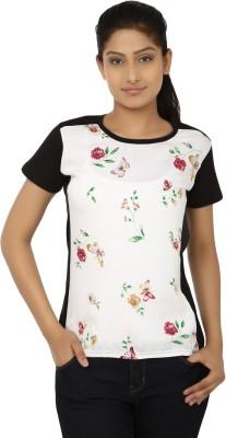 Aussehen Casual Short Sleeve Floral Print Women's Black, White Top