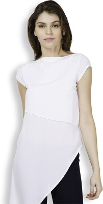 Tokyo Talkies Casual Short Sleeve Solid Women's White Top