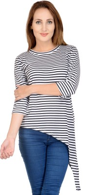 Raabta Fashion Casual 3/4 Sleeve Striped Women's Black Top